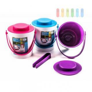 Eiskübel von Fresh & Cold mit Zange, Henkel und Deckel, doppelwandig, Größe ca. 16, 2 x 14 cm, 3 Farbkombinationen verfügbar
