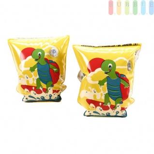 Schwimmflügel Schildkröte für Kinder von Bestway, aufblasbar, 2 Kammern, 2 Sicherheitsventile, für Mädchen und Jungen, Gelb