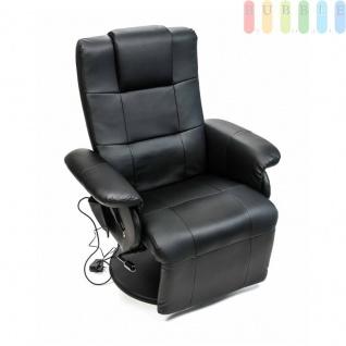 Relax-Sessel mit Vibrationsmassage, Sitzheizung und Timer, Lehne und Fußteil manuell verstellbar, LCD-Fernbedienung, 6Massage-Modi, Patchwork-Design, Kunstleder, schwarz