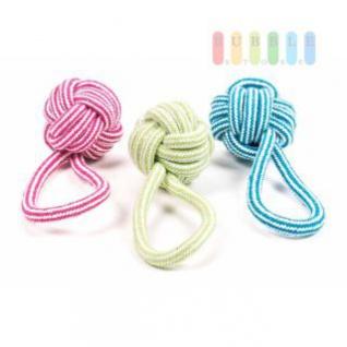 Hundespielzeug Knotenball von Pet Toys mit Schwungschlaufe, Größe ca. 15 x 7 cm, lieferbar in den Farben Rot, Grün oder Blau