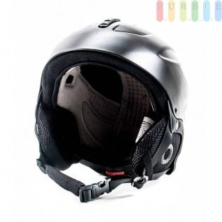 Kinder Ski- und Snowboard-Helm mit Ohrenschützern, Brillenhalter, Größe und Belüftung einstellbar, entspricht DINEN1077, Farbe Schwarz, Größe XS
