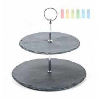 Etagere von Alpina mit 2 Ebenen aus Schiefer, Metall-Gestänge, Durchmesser ca. 20/25 cm, Höhe ca. 24 cm