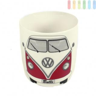 VW T1 Bus Kaffeetasse, Kaffeebecher im Geschenkkarton aus New Bone China-Porzellan, Sammler-Stück, VW-Kollektion, Retro-Design, 370 ml, rot