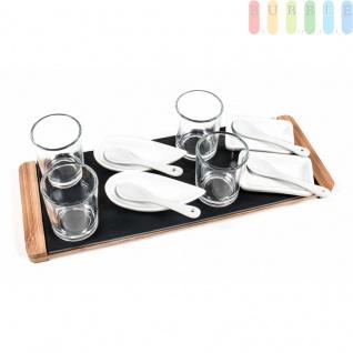 Appetizer-Set von Alpina, 4 Schalen, 4Löffel, 4Gläser mit Schieferplatte und Holz-Tablett, Größeca.33x12cm