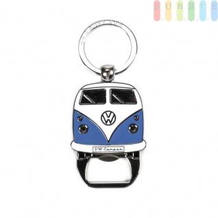 VW T1 Bus Schlüsselanhänger mit Flaschenöffner, Front-Design, Sammlerstück aus VW-Kollektion, Zink-Aluminium vernickelt, emailliert, blau