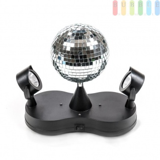 Disco-Spiegel-Kugel mit 2 Spots von PartyFunLights, rotierend, bunte LEDs, 16LEDs, ?13 cm