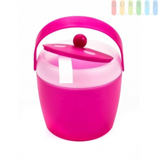 Eiskübel von Fresh & Cold mit Zange, Henkel und Deckel, doppelwandig, Volumen1, 5l, Größeca.20x18cm, Farbe Pink