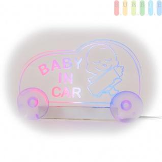 """LED-Leuchttafel ALL Ride """" BABY IN CAR"""" tranparent/pink/blau mit Stecker, geschaltet, 12V - Vorschau 2"""