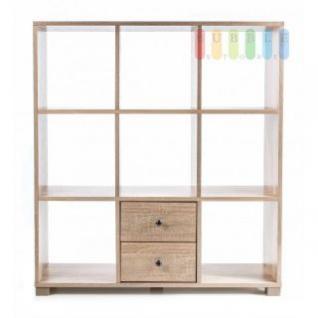 Regal von Homestyle, 2 Schubladen, 8 Fächer, modernes Design, freistehend, Größe ca. 100 x 90 x 24 cm