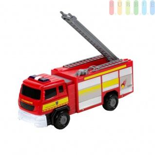 Spielzeug-Feuerwehrauto, Löschfahrzeug mit Friktionsantrieb für Kinder von Gear Box, Licht und Ton-Funktionen, Auszieh-Leiter, Kunststoff