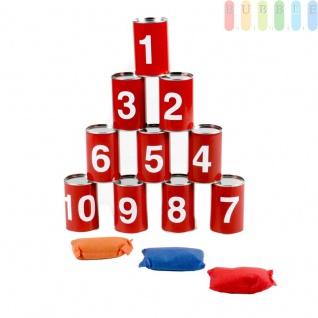 Dosenwerfen, Kinderspiel von Lifetime Games, bestehend aus 10 Dosen und 3 Wurfsäckchen, Größe pro Dose (HxØ) ca. 10 x 6, 5 cm