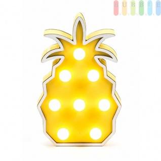 Holzdeko von Arti Casa, 8LEDs, MDF, batteriebetrieben, freistehend, Handmade-Design, Höheca.22 cm, Motiv Ananas