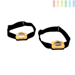 2 Stirnlampen, Kopflampen von Stanley mit je 5LEDS, elastisches Kopfband, größenverstellbar, 2Funktionen inklusive Blinklicht, An/Aus-Schiebeschalter, batteriebetrieben