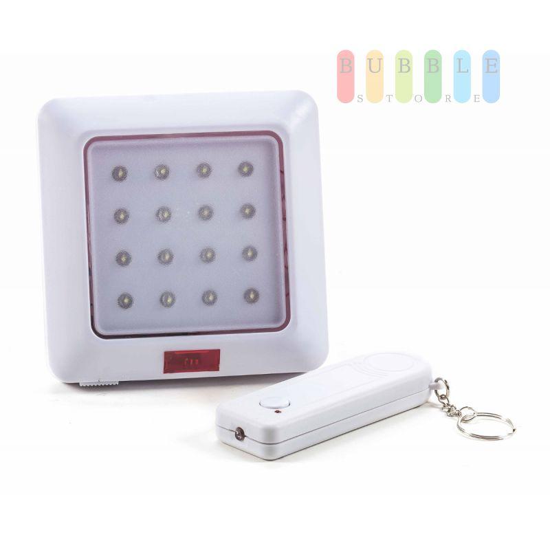 led lampe von safe alarm mit fernbedienung 16 leds batteriebetrieb reichweite 10 meter 2. Black Bedroom Furniture Sets. Home Design Ideas