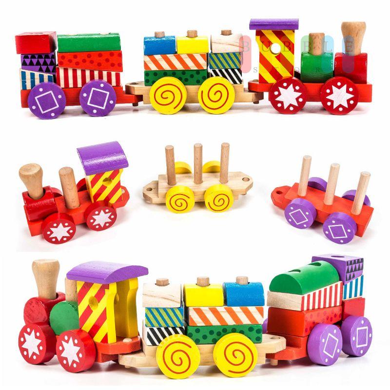 3 Waggons  je 15 cm Set 1 Siso Holz-Eisenbahn 1  Lok Holzspielzeug Fahrzeuge