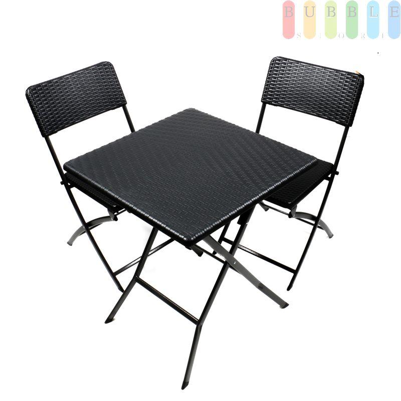 Gartenmobel Set Tisch Und 2 Stuhle Rattan Optik Klappbar Stahl Mit Kunststoffgeflecht Schwarz