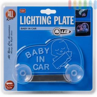 """LED-Leuchttafel ALL Ride """" BABY IN CAR"""" tranparent/pink/blau mit Stecker, geschaltet, 12V - Vorschau 3"""