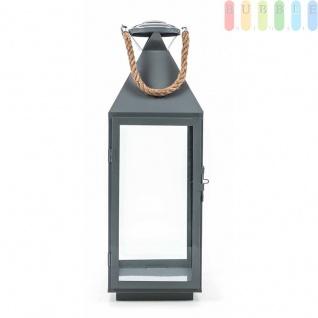 Metalllaterne von Arti Casa, Glaseinsätze, Metallboden, Tür mit Verschluss, Seil-Griff, Design maritim, grau, Größeca. 55 cm