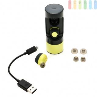 Kabelloser In Ear Stereo-Kopfhörer VerveOnes+ von Motorola, Ladestation, 3 Größen Ear-Pads, USB-Ladekabel, Bluetooth-Funktion, Android + IOS-tauglich, wasser- und staubdicht