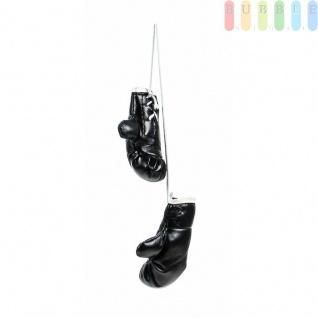 Mini-Boxhandschuhe von ALL Ride, witzig-sportliche Dekoration, Rückspiegel im Auto, Kunstleder, schlicht, Größeca.8, 5cm, Farbe Schwarz