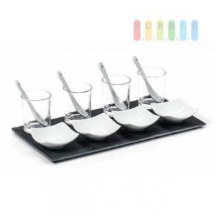 Appetizer-Set von Alpina 4 Schalen (Glas mit Löffel/eckige Schale) mit Schiefer-Tablett, Größe ca. 30 x 15, 5 cm