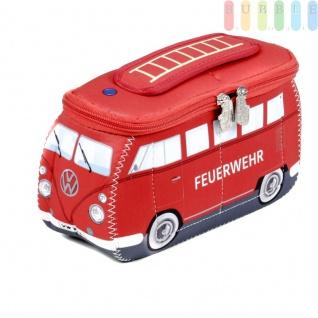 VW T1 Bus Neopren-Tasche in 3D-Optik, multifunktional, VW-Kollektion, Retro-Design, doppelter Reißverschluss, Innentaschen, Henkel, Größe ca. 24 x 12 x 8 cm, Feuerwehr-Version