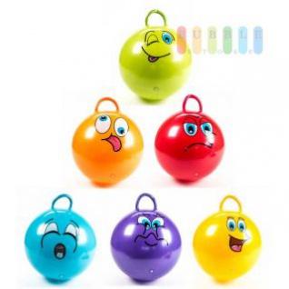 Hüpfball von Eddy Toy´ s mit Griff, Design Grimasse, Durchmesser ca. 45 cm, lieferbar in den Farben Rot, Gelb, Türkis, Violett, Orange oder Grün