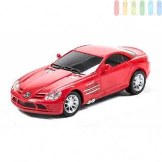 Modellauto von Radio Fun International mit 2-Kanal-Fernsteuerung, ON-OFF-Schalter, Maßstab1:24, Modell Mercedes Benz SLR McLaren in rot