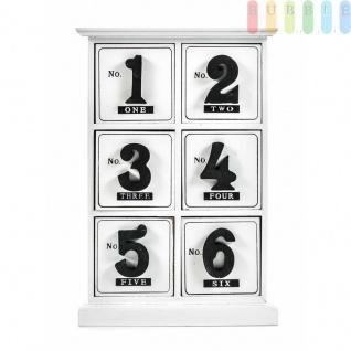 Mini-Kommode von Arti Casa aus MDF, 6Schubladen, Ziffern-Design, Ziffern-Griffe, Höheca.29, 5cm