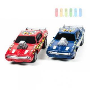 Spielzeug-Rennwagen von EDDY TOYs mit Sound, Licht und Action auf Knopfdruck, Länge ca. 30 cm, lieferbar in den Farben Rot oder Blau