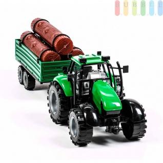 Traktorgespann von Gearbox mit Rückzugmotor, 2-teilig, Längeca.42cm, Traktor mit Holzanhänger