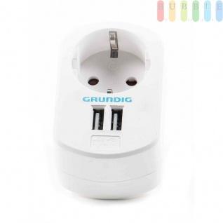 USB-Ladegerät von Grundig mit Steckdose und 2USB-Buchsen, 250V/50Hz AC und 2 x 5V/2, 1A DC