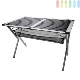 Klapptisch, Aluminium-Rolltisch für Terrasse, Garten, Camping, klappbar, Tragetasche, höhenverstellbarer Fuß, kippelfrei, mobil, eckig, silber / schwarz, Größe ca. 110 x 70, 5 x 73 cm