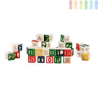 Holzbausteine mit Buchstaben und Zahlen von Marionette Wooden Toys, 2 Seiten bunt und 3 D, 4 Seiten Outline-Symbole, 30 Stück
