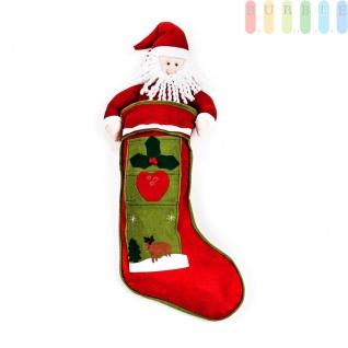 Weihnachtsstiefel / Nikolaussocke zum Befüllen aus Filz im klassischen Design als Weihnachtsmann/Nikolaus