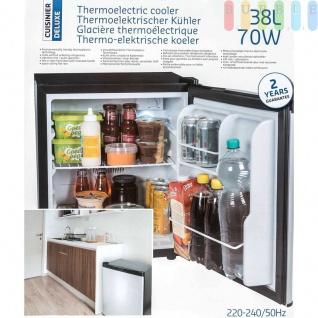 Mini Kühlschrank von Cuisinier Deluxe, freistehend, thermoelektrisch, geräuscharm, Volumenca.38l, Höheca.50cm