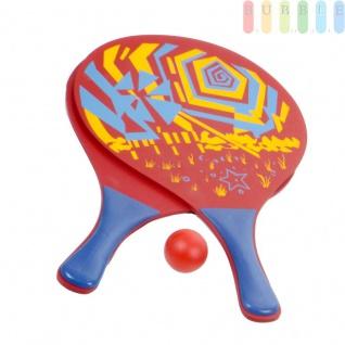 3-teiliges Beachball-Set, Strandspielzeug für Kinder und Erwachsene, 2 stabile Holzschläger und 1 Kunststoffball, Tragenetz mit Aufhängeöse, Design3