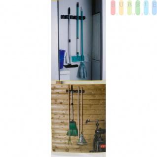 Gerätehalter für 5 Geräte von Kinzo Garden für Gartenwerkzeuge, Besen etc. mit Stildurchmesser von 18, 5-34, 5 mm, inkl. Montagematerial, (L) ca. 43, 5 cm, schwarz