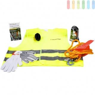 KFZ-Notfallset Tasche von Dunlop, für Auto, Motorrad, Wohnmobil, 44 Teile, u.a. Arbeitshandschuhe, Warnweste, Abschleppseil, 10 Glühbirnen, 28 Sicherungen