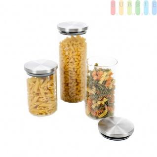 3x Aufbewahrungsglas, Vorratsgläser mit Edelstahldeckel Luftdicht von Alpina, Vorratsdosen für Nudeln, Reis, Hülsenfrüchte, Mehl, Zucker u.v.m.