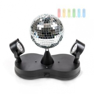 Disco-Spiegel-Kugel mit 2 Spots von PartyFunLights, rotierend, bunte LEDs, 16 LEDs, Ø 13 cm