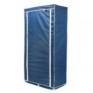 Faltkleiderschrank, 1 Kleiderstange, 6 Ablagen, werkzeuglose Montage, Größe 170 x 87 x 45 cm, Farbe Blau-Weiß