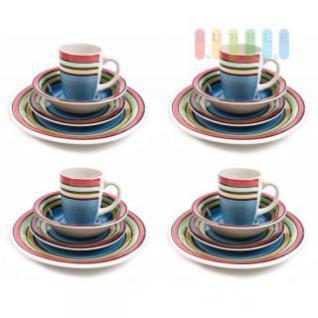 Frühstücksservice von Trento, 4 Personen, Keramik, Handmade-Design, Becher, Müsli-Schalen, Teller, 16-teilig, bunt