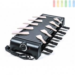 Raclette-Grill von Cuisinier Deluxe für 10 Personen, Thermostat, Kontrollleuchte, vielseitig, schwarz, Größe64x24x10, 5cm, 1500W