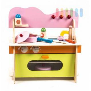 Kinderspielküche aus Holz von Marionette, Klapptür, Rost, Kochstelle, Waschbecken, Ofen, viel Zubehör, Größe ca. 36 x 16, 5 x 36 cm