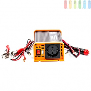 Spannungswandler / Inverter ALL Ride Zigarettenanzünder- und Batterie-Anschluss, Schuko-Steckdose, USB-Buchse, 24V/DCauf230V/AC, 300W