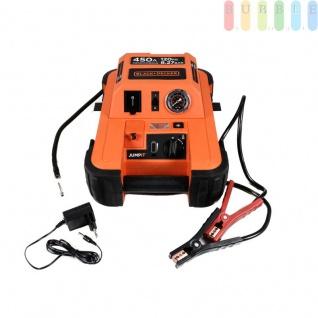 Jump It BDJS4501 450AMP-Starthilfegerät von Black & Decker für 12 V Batterien plus 120 PSI-Kompressor, Netzladeadapter, LED-Licht + Anzeige