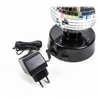 Disco-Spiegel-Kugel von PartyFunlights, rotierend, Ein-Aus-Schalter, Netzteil inklusive, 4 bunte LEDs, Ø 10 cm - Vorschau 4