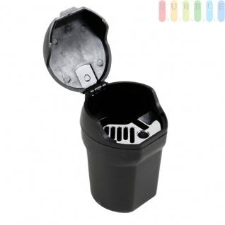 Aschenbecher als Mini-Mülltonne von Allride, für Getränkehalter oder Magnet-Halterung, flexibel, schwarz - Vorschau 2