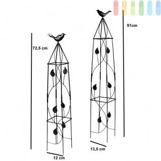 Rankhilfe für Kletterpflanzen in 2 Größen mit Deko-Vogel von Lifetime Garden, Obelisk-Kletterhilfe für den Garten, Metall, schwarz, Höhe ca. 71, 5 cm / 91 cm - Vorschau 3
